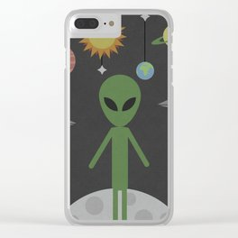 Alien on the Moon Clear iPhone Case