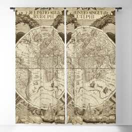 Antique world map with sail ships, sepia Blackout Curtain