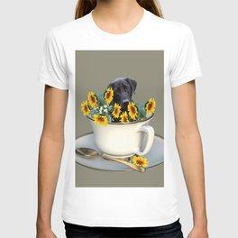 Labrador retriever with coffee cup of sunflowers T-shirt