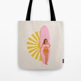 girl, surfboard and sun Tote Bag