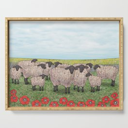 Suffolk sheep in a field with poppies Serving Tray