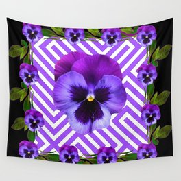 BLACK &  PURPLE PANSY ART ABSTRACT  PATTERN Wall Tapestry