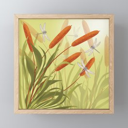 the reeds and dragonflies on the rising sun background Framed Mini Art Print