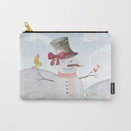 Winter Wonderland- Snowman and birds - Watercolor illustration Carry-All Pouch