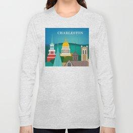 Charleston, West Virginia - Skyline Illustration by Loose Petals Long Sleeve T-shirt
