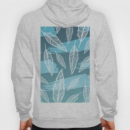 Blue stripes and white feathers pattern Hoody