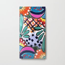 Colorful Talavera, Pink Accent, Mexican Tile Design Metal Print