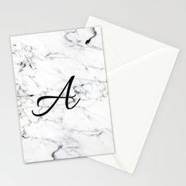 Letter A on Marble texture Initial personalized monogram Stationery Cards