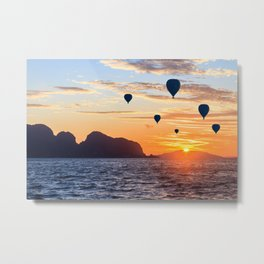 Hot air balloons at sunrise in Phang Nga Bay, Thailand Metal Print