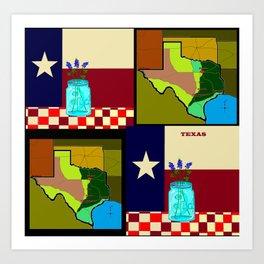 A Texas Quilt, State Flag and Blue Bonnets Art Print