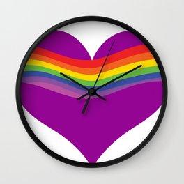 Rainbow Heart Wave - RL - Purple Wall Clock