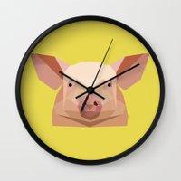 pig Wall Clocks featuring Pig by Alysha Dawn