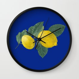 Oil painting of a lemon tree branch with two lemons, isolated on blue background Wall Clock