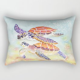 Swimming Together - Sea Turtle Rectangular Pillow
