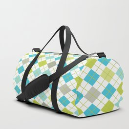 Retro 1980s Argyle Geometric Pattern in Modern Bright Colors Blue Green and Gray Duffle Bag