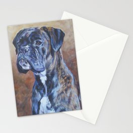 brindle BOXER dog art portrait from an original fine art painting by L.A.Shepard Stationery Cards