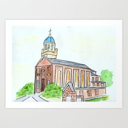 University of Dayton watercolor, UD Chapel, Dayton, OH Art Print