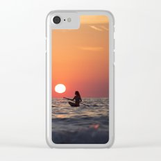 sunset on the ocean Clear iPhone Case