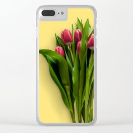Yellow Bright Light Amber Pink Tulip Blossoms Flatlay Clear iPhone Case