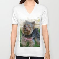 yorkie V-neck T-shirts featuring Little Yorkie by IowaShots
