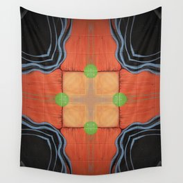 Sojourner // Tribal Geometric Vibrant Visionary Abstract Pattern Orange Black Bohemian Color Shape Wall Tapestry
