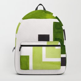 Sap Green Pattern Mid-century Modern Simple Geometric Pattern Watercolor Minimalist Art Squares Backpack