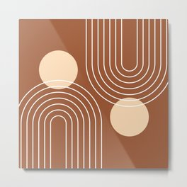 Mid Century Modern Geometric 84 in Beige and Terracotta (Rainbow and Sun Abstraction) Metal Print