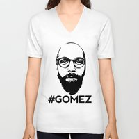 selena gomez V-neck T-shirts featuring Gomez - Black by Dominic DiMaria