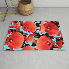Poppie Camouflage Red Blue -Living Hell Rug