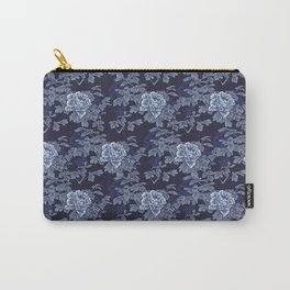 Japanese Peony Floral - Navy Carry-All Pouch