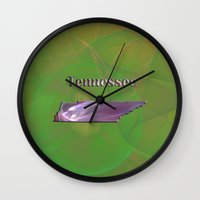 tennessee Wall Clocks featuring Tennessee Map by Roger Wedegis