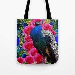 BLUE PEACOCK &  PINK ROSE FLOWERS BLUE MODERN ART Tote Bag