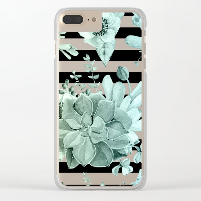 Simply Succulent Garden Striped in Turquoise Green Blue Gradient Clear iPhone Case