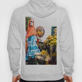 Day of the Dead Altar with Skeleton Lady in Blue Dress and Orange Shawl Hoody