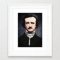 edgar allan poe Framed Art Prints featuring Edgar Allan Poe by Taylan Soyturk