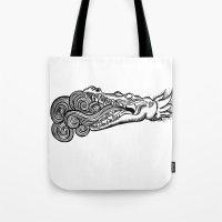 crocodile Tote Bags featuring crocodile by bloodpurple
