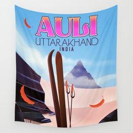 Auli, Uttarakhand, indian travel poster, Wall Tapestry