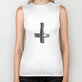 An inverted cross- The Cross of Saint Peter used as an anti-Christian and Satanist symbol Biker Tank