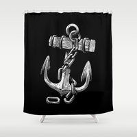 anchor Shower Curtains featuring Anchor by pakowacz
