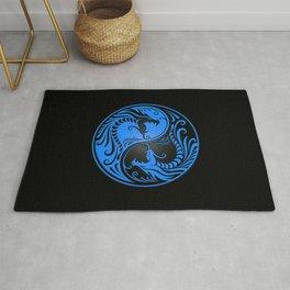 Blue and Black Yin Yang Dragons Rug