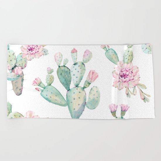 Simply Cactus Rose Beach Towel