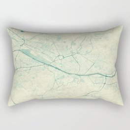 Florence Map Blue Vintage Rectangular Pillow
