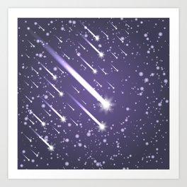 Flying meteors. Ultra violet. Art Print