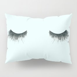Dramatic dreaming in blue  \\ lashes, closed eyes, sleeping design for bedroom Pillow Sham