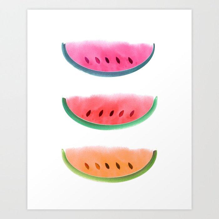 Picnic - Watermelon Watercolor Art Print