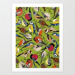 winter garden birds lime Art Print