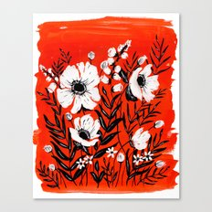 RED FLORALS Canvas Print