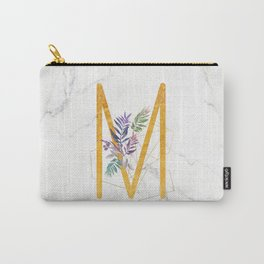 Modern glamorous personalized gold initial letter M, Custom initial name monogram gold alphabet prin Carry-All Pouch