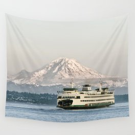 Seattle Bainbridge Island Ferry with Mount Rainier Wall Tapestry