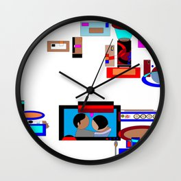 A Dinner and a Movie with Technology Wall Clock